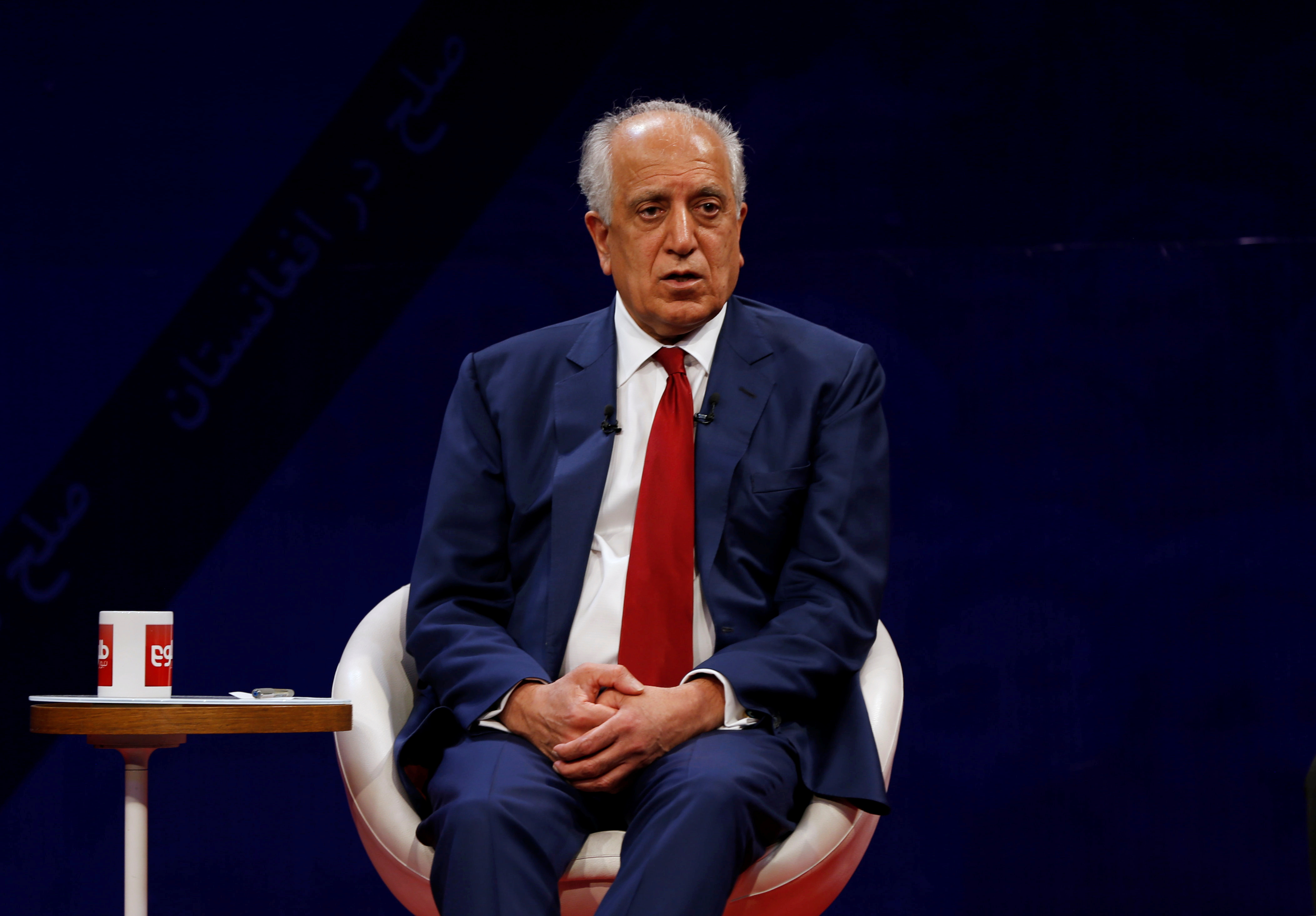 FILE PHOTO - U.S. envoy for peace in Afghanistan Zalmay Khalilzad, speaks during a debate at Tolo TV channel in Kabul, Afghanistan April 28, 2019. REUTERS/Omar Sobhani