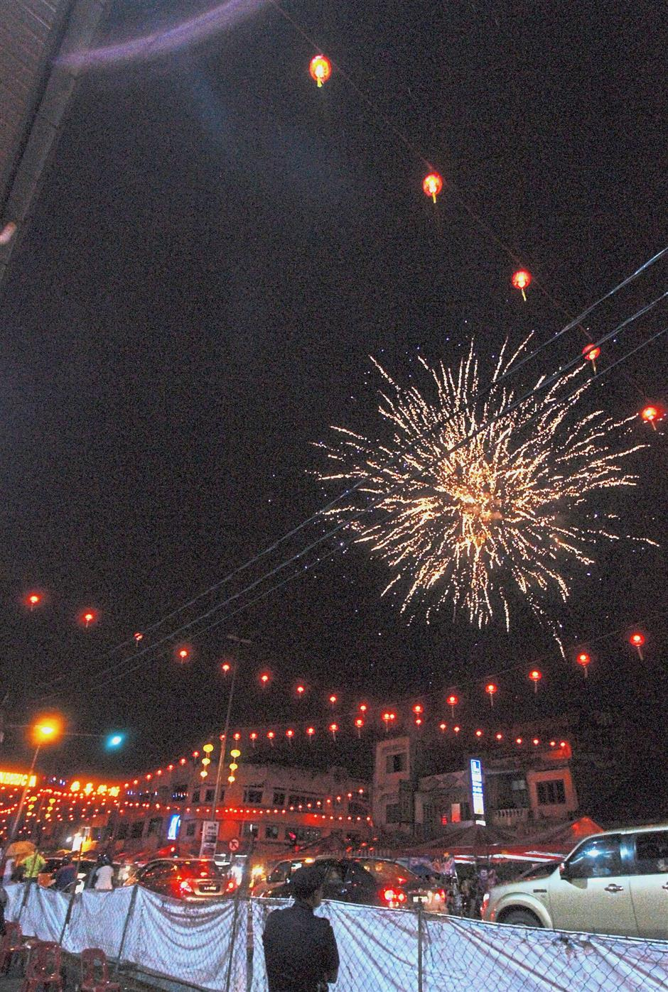 A fireworks display lighting up the night sky in Jelapang.