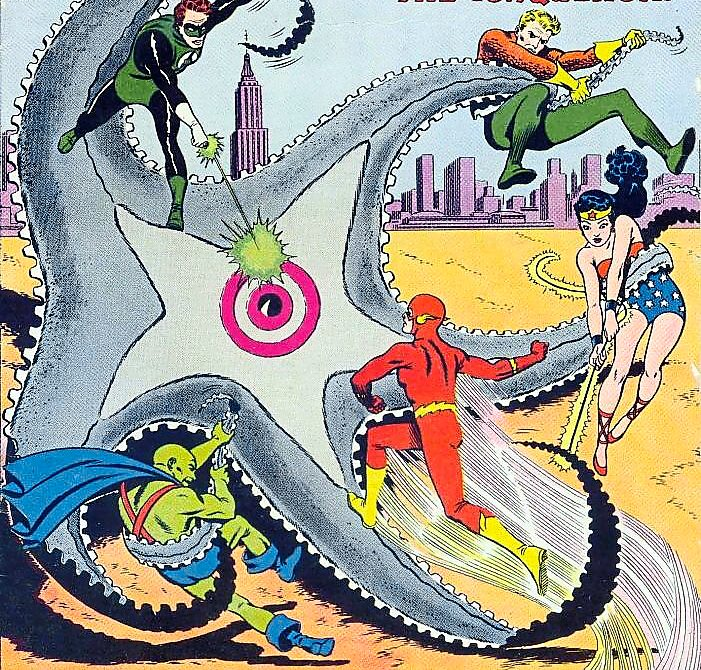 Giant starfish alert: The cover of The Brave And The Bold 28 in 1960, which featured the birth of the Justice League.