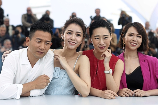We too moment: Wu (third from left) with director Midi Z and co-stars Vivian Sung and Hsia Yu-chiao promoting u2018Nina Wuu2019 at Cannes in May. u2014 Photos by AP
