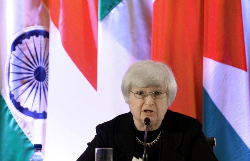 In remarks prepared for a Senate hearing on Thursday, Janet Yellen signalled her support for continuing the central bank\'s US$85bil-a-month bond-buying until the  economy shows signs of a firm recovery, sending the dollar tumbling in US trade as continued bond-buying pumps vast sums of cash into financial markets - AFP Photo.