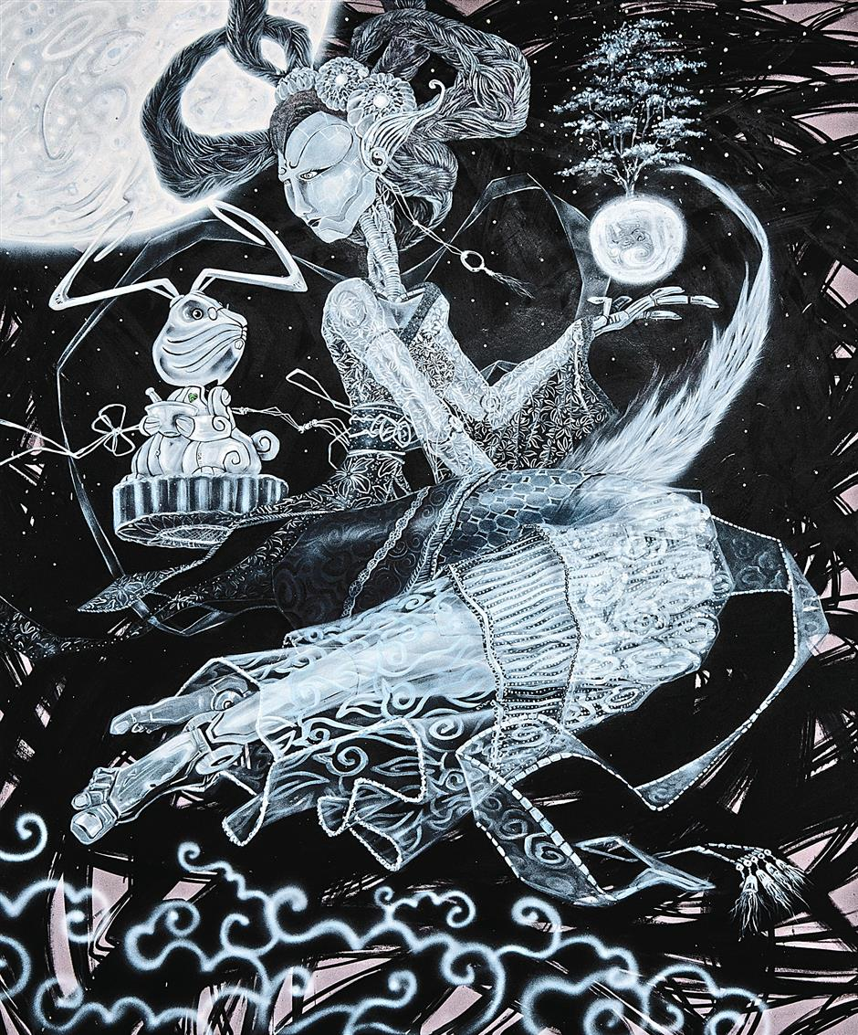 Raja Lope Rasydi Raja Roslan's artwork called La Principessa della Luna is inspired by the legend of Chang Er, who is stranded on the moon and is searching for an elixir that will reunite her with her husband.