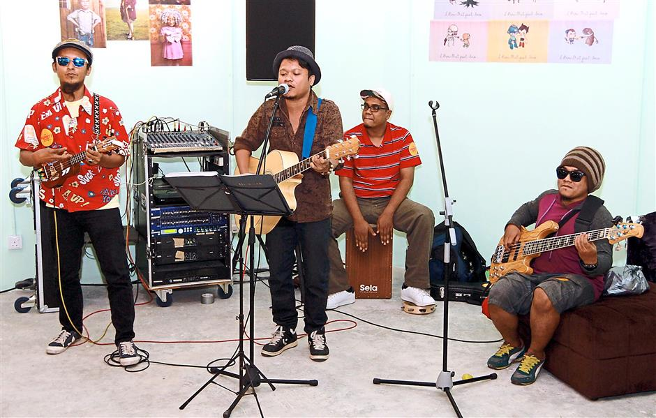 Live band provides musical entertainment for shoppers during the event at Penang Times Square.