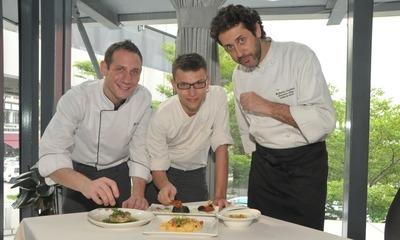 Talented trio: Roberto Galetti (right) with his Garibaldi KL executive chef Giuliano Berta (left) and sous chef Andrea Genio.
