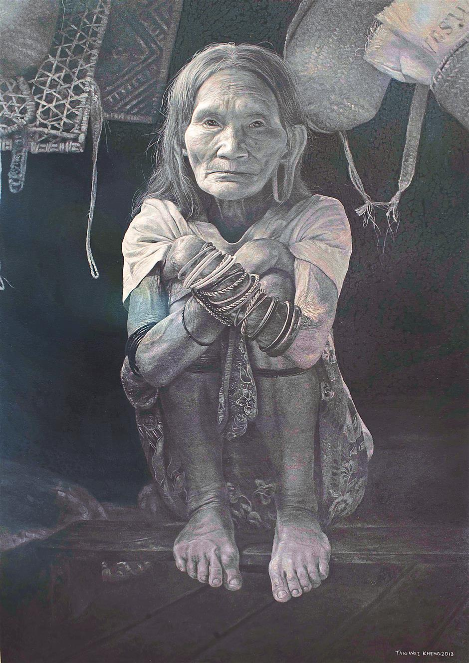 1 u2018She is a lovely woman (from Ulu Limbang, Sarawak). She is very kind. Every time I visit her house, she comes to shake my hand and give me a hug,u2019 says artist Tan Wei Kheng about Sigang Kesei (oil on canvas, 2013), who has been immortalised as one of his paintings in the Language Of The Jungle exhibition in Kuala Lumpur.2 Tan Wei Kheng painted young Penan brothers Jesua and Ruan Gasi in Another Jungle (oil on canvas, 2014), a poignant piece about the future and survival of this indigenous minority group.