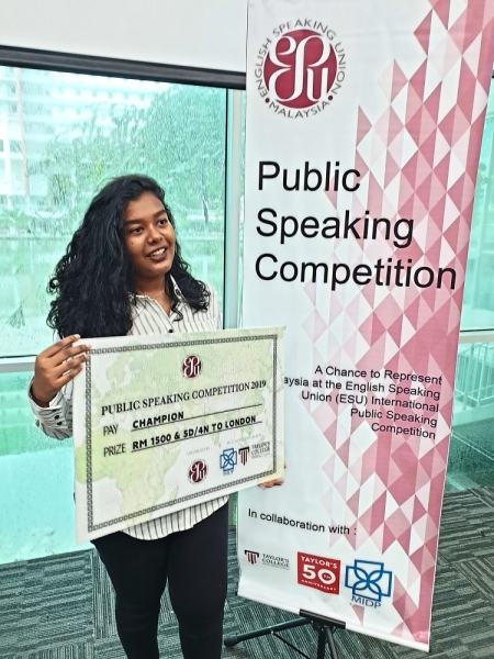 Imelda will represent Malaysia at the International Public Speaking Competition in London.