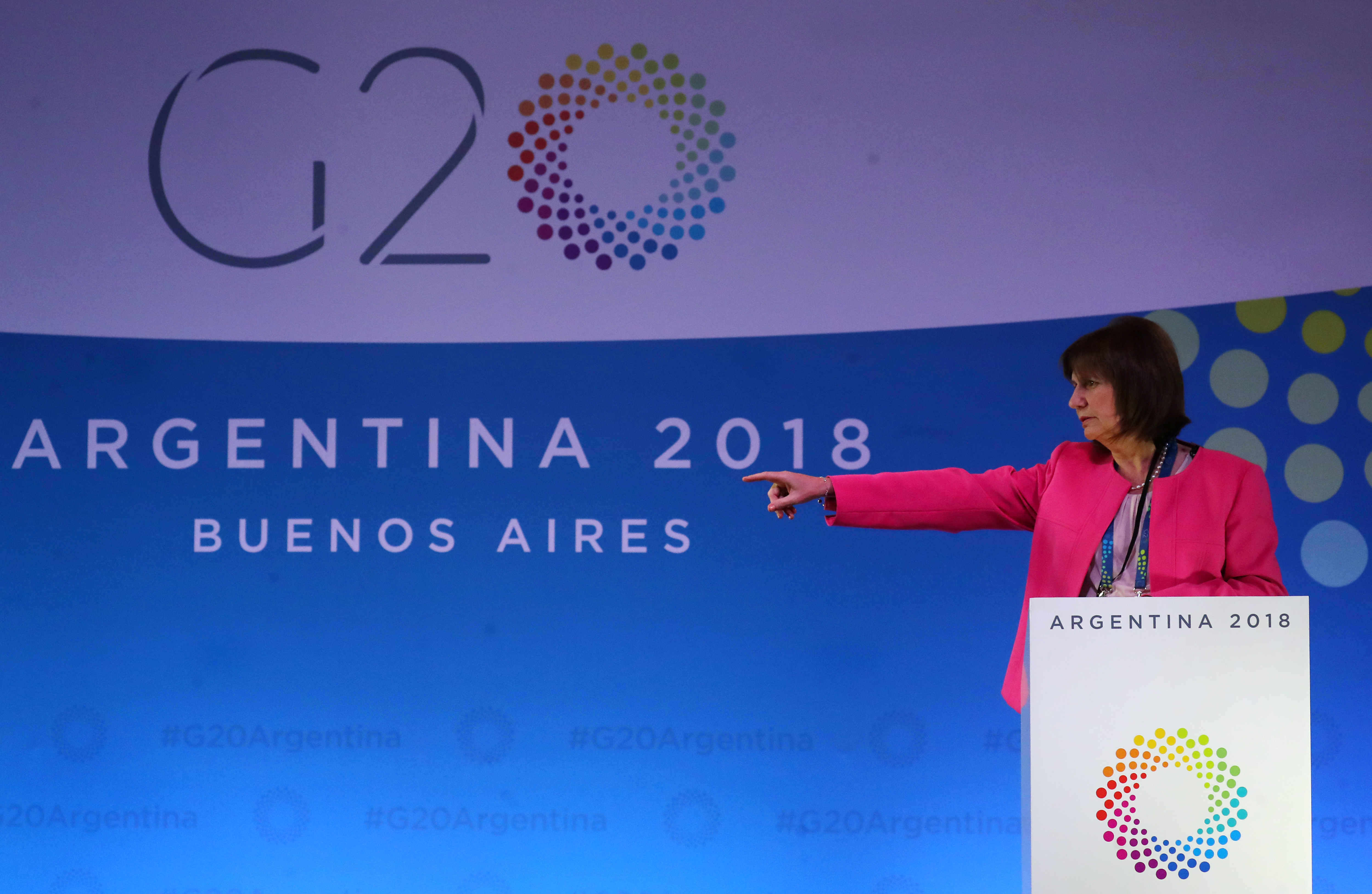 Argentine Security Minister Patricia Bullrich speaks during a conference at the G20 Summit's International Media Center in Buenos Aires, Argentina November 29, 2018.  REUTERS/Marcos Brindicci/Files