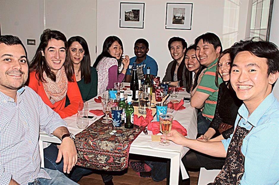 Chua (right) and his supper club guests.