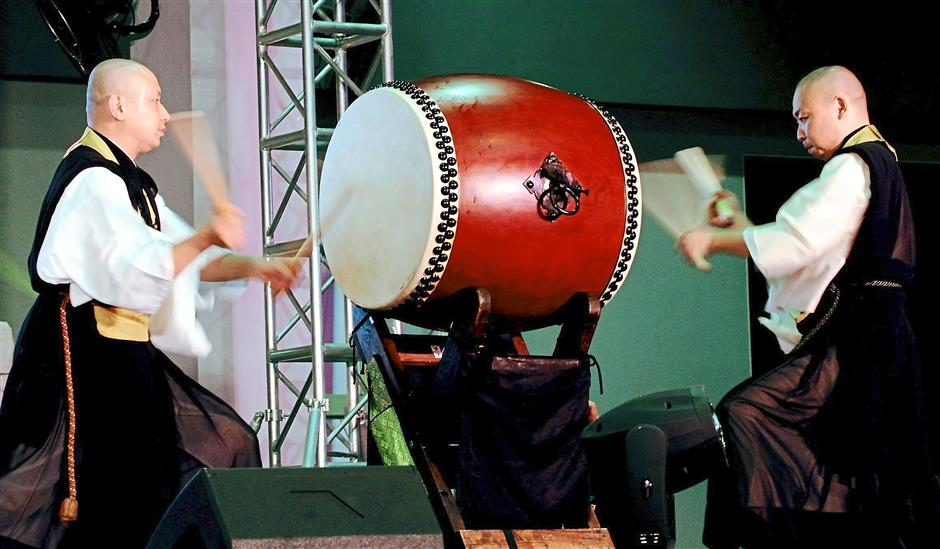 Reverberating: Buddhist monks from the Mie Prefecture in Japan playing the Taiko, or 'big drum', a traditional Japanese drum performance.