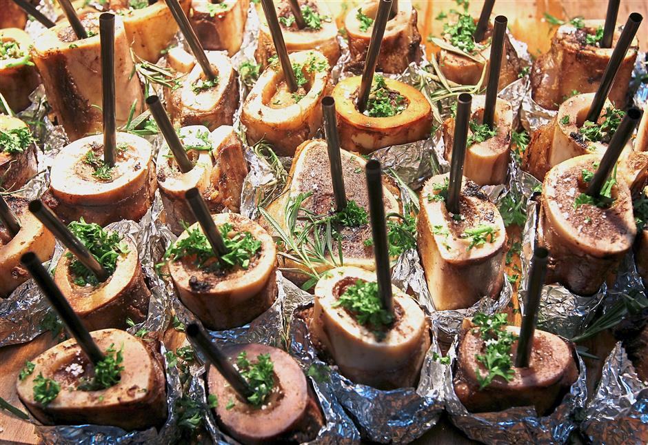 The Oven Roasted Beef Bone Marrow unveils soft and buttery centre.
