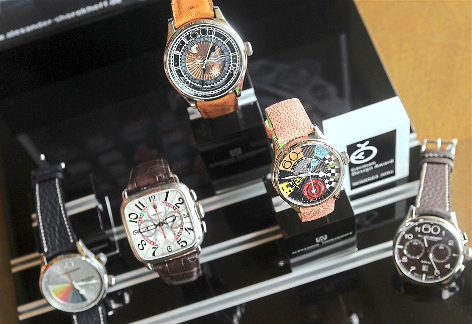 Niche market: a selection of Alexander Shorokhoff watches.