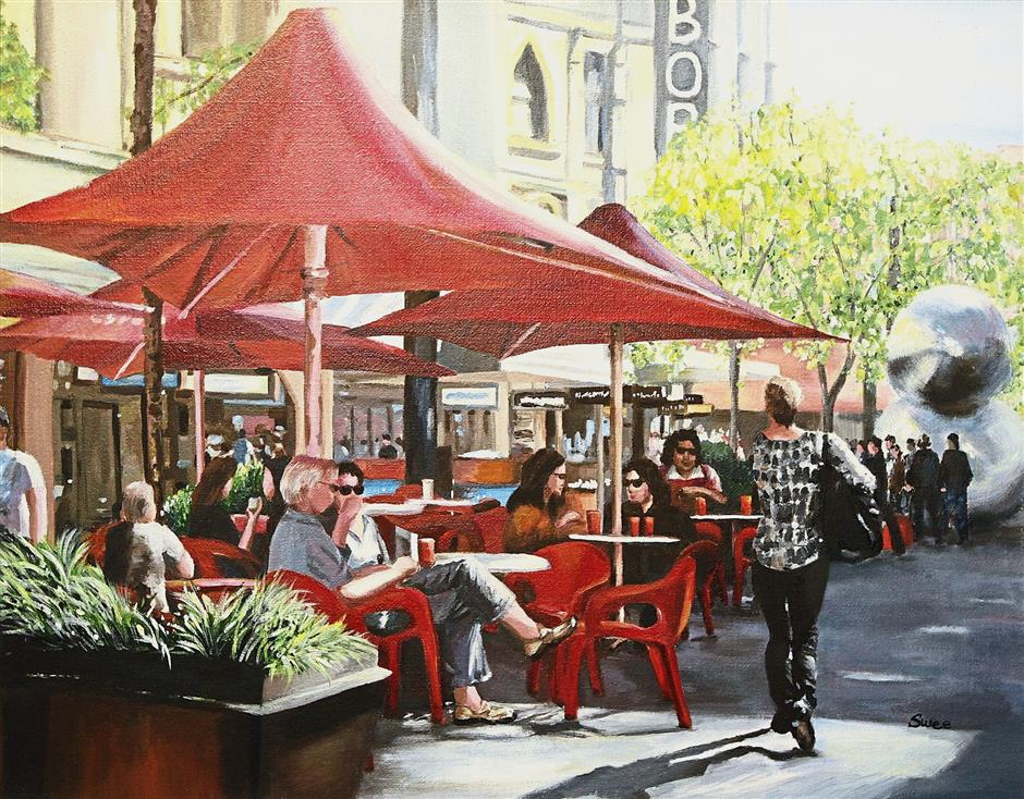 'Chilling Out At Rundle Mall I' showing people relaxing at a shopping centre in Adelaide.