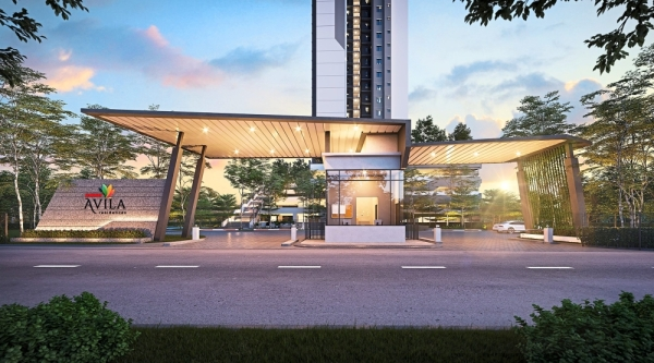 An artist's impression of Sunway Avila. (Left) Chong with a scale model of the development. — Filepic