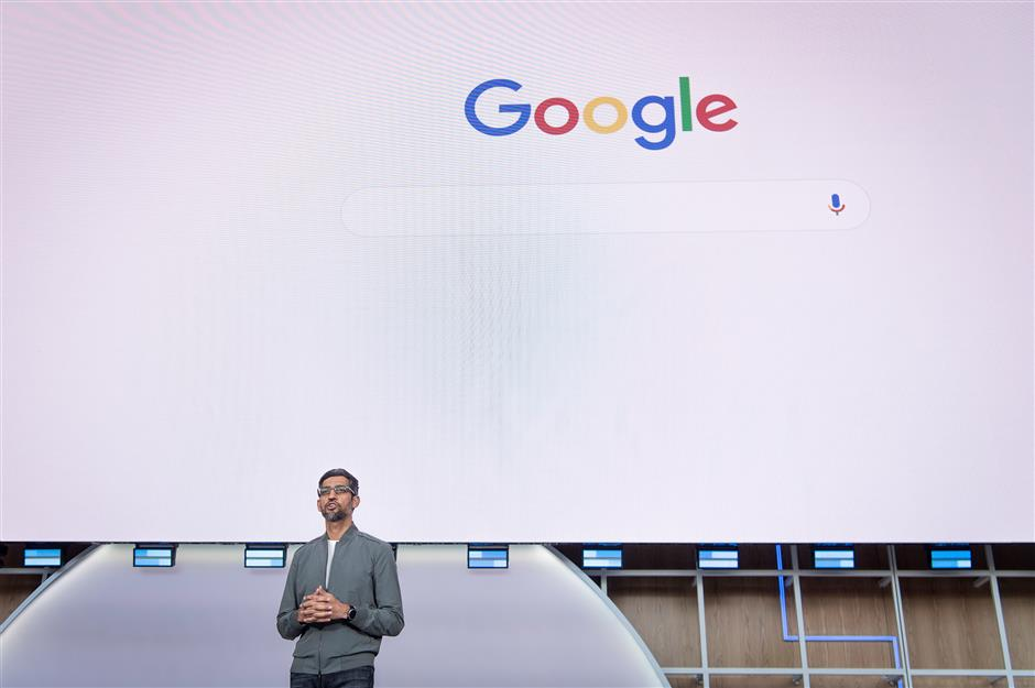 Sundar Pichai, chief executive officer of Google LLC, speaks during the Google I/O Developers Conference in Mountain View, California, U.S., on Tuesday, May 7, 2019. Each year, Google pitches new ways its trove of user data can improve apps, websites and other services on smartphones. This year, the internet giant will try to convince the world it\'s a responsible steward of all that information. Photographer: David Paul Morris/Bloomberg