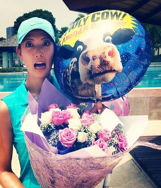 Oh no! Look what Michelle Wie got for her birthday.