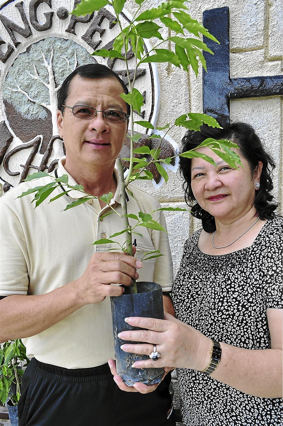 David Ho (l) holds a sapling with wife, Khor Lye Keen. Each costs RM 38.