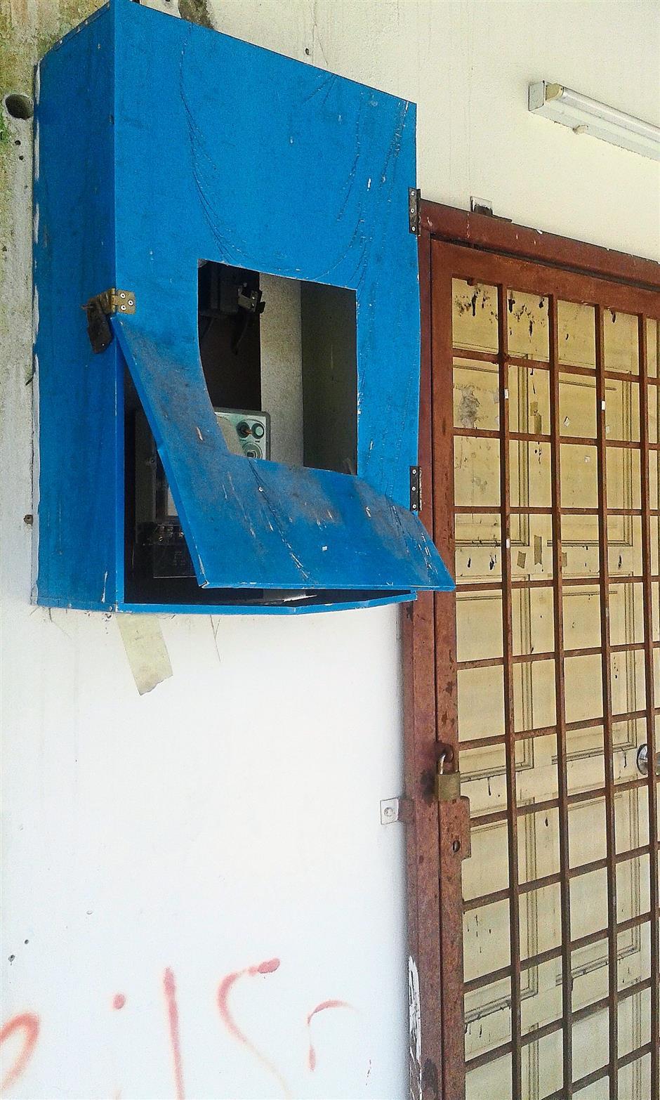 Wrecked: The meter box of the MCA community hall in Bukit Taman Rawang Jaya has been vandalised.
