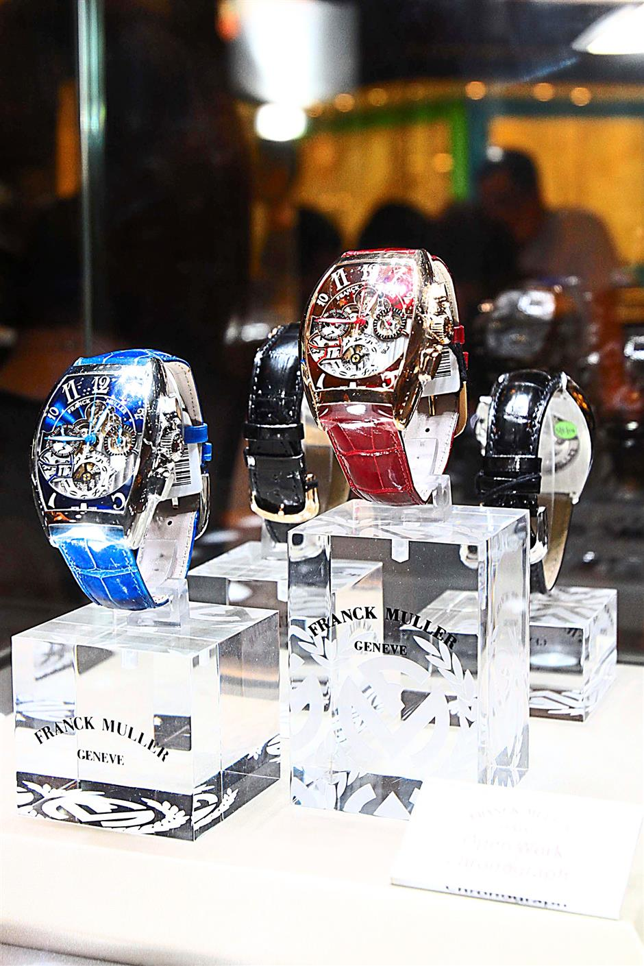 Some of the elegent Franck Muller timepieces put on display at the WPHH Southeast Asia Exhibition.