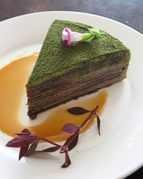 The Mille Crepe with Matcha Cream is a healthy dessert.