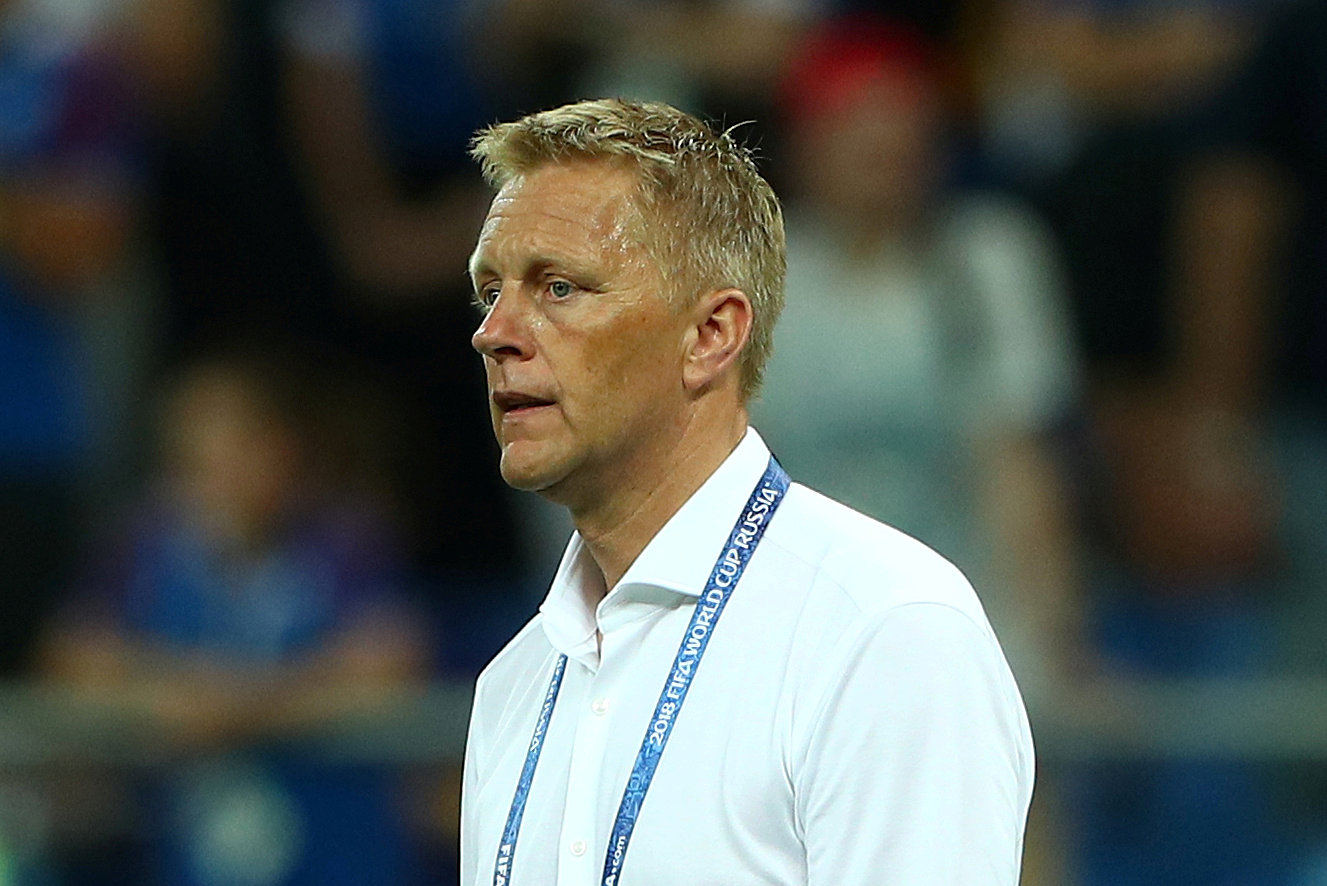 FILE PHOTO: Soccer Football - World Cup - Group D - Iceland vs Croatia - Rostov Arena, Rostov-on-Don, Russia - June 26, 2018   Iceland coach Heimir Hallgrimsson looks dejected after the match     REUTERS/Hannah McKay/File Photo