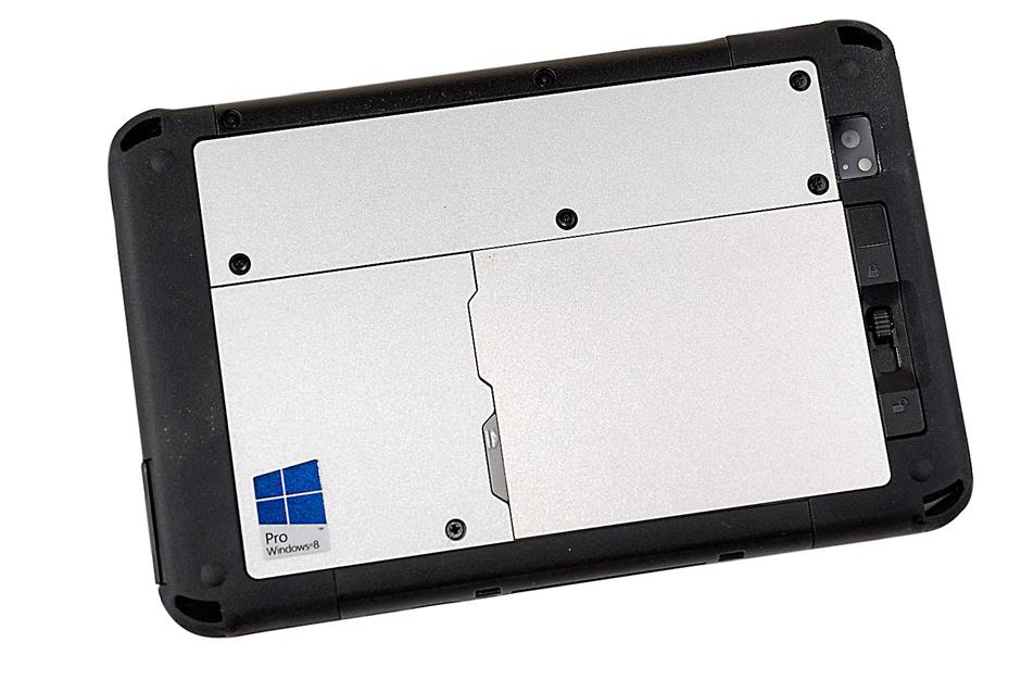 Hard back: the Panasonic Toughpad FZ-M1 has weather-sealed ports and the back is made up of magnesium alloy.