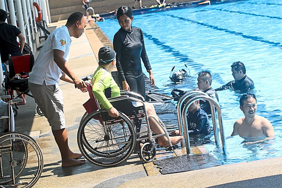 The participants, who have different disabilities, trained for six months prior to the dive at PJ Palms Sports Centre