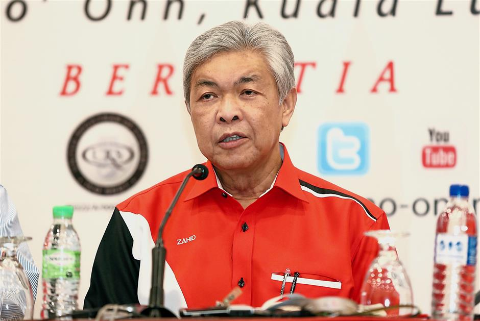 Umno president Datuk Seri Dr Ahmad Zahid Hamidi speaking in a press conference after holds their first meeting at Menara Dato Onn yesterday. IZZRAFIQ ALIAS / The Star. July 4, 2018.