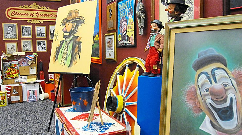 Forever fun: In Baraboo, Wisconsin, the circus is always in town. Here, a view inside the International Clown Hall of Fame.