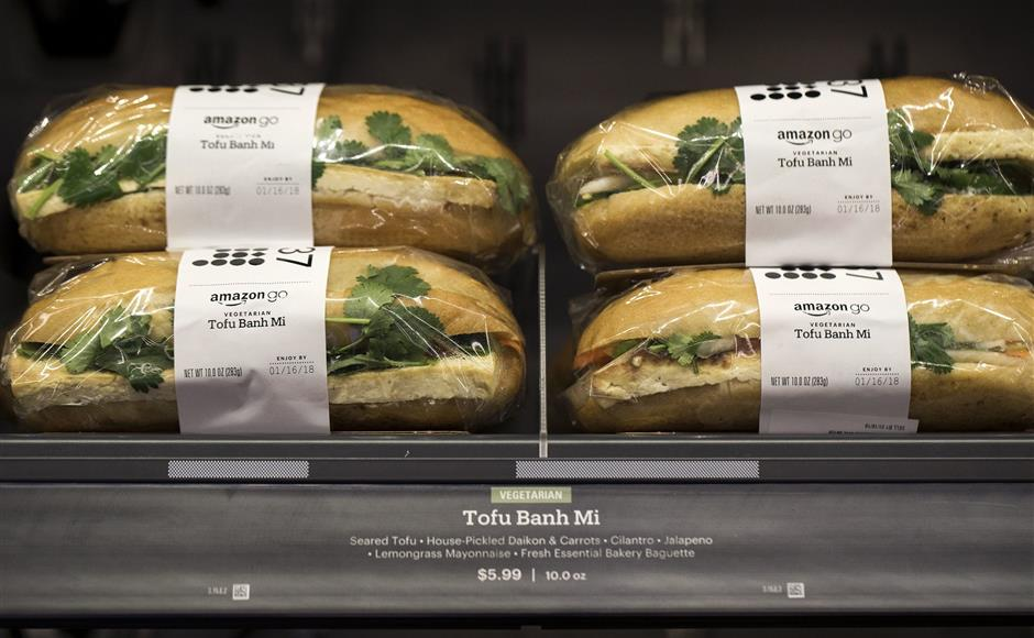 Amazon Go customers can pick up ready-made sandwiches, including a $5.99 tofu banh mi. (Bettina Hansen/Seattle Times/TNS)