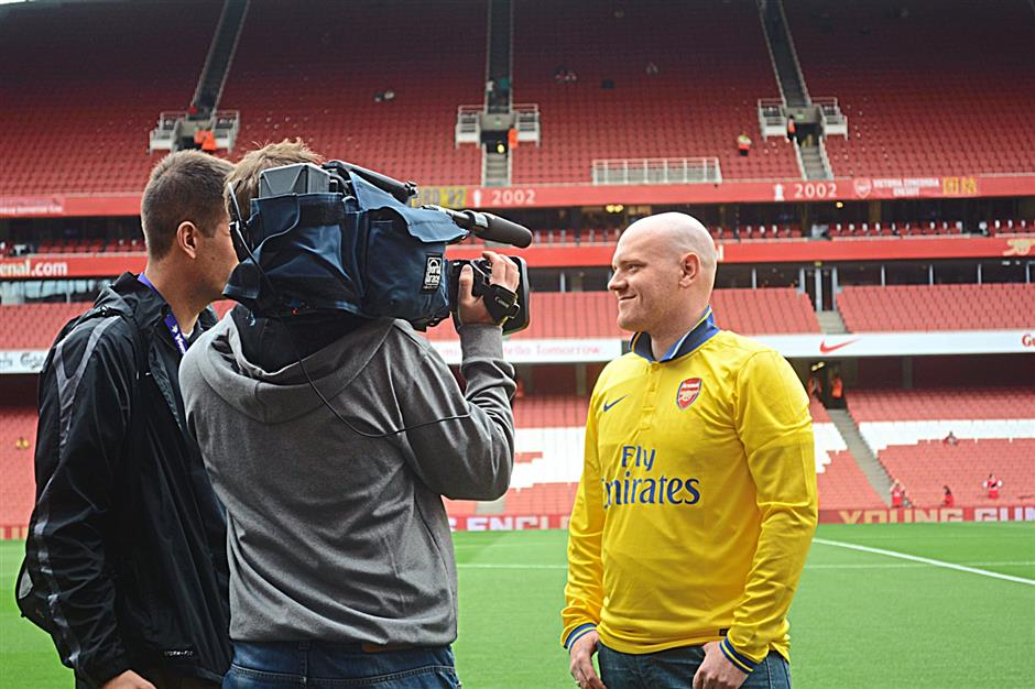 Anderson being interviewed at Arsenal's homeground at the Emirates Stadium in London. - Photo from Peter Anderson