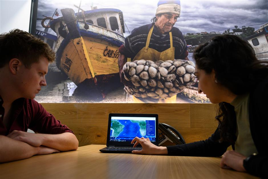 Lacey Malarky (R), an Oceana campaign manager on illegal fishing and transparency, shows a colleague the GPS position of a fishing boat in the Atlantic ocean from her computer at the headquarters of the NGO Oceana on June 10, 2019 in Washington, DC. - From her desk in a building in downtown Washington, Lacey Malarky monitors fishing vessels that take advantage of the vastness of Earth's oceans to cheat in the belief that no one is watching. Malarky uses a website called Global Fishing Watch, which was launched by her employer, the NGO Oceana, with Google and a nonprofit called SkyTruth less than three years ago to trace where 70,000 fishing vessels have sailed since 2012. (Photo by Eric BARADAT / AFP)
