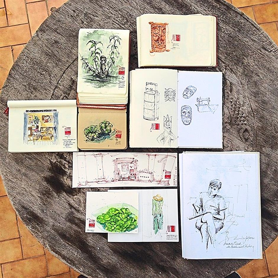 Artistic pieces: Sketches made during the group's visit to Sarakraf Pavillion in Kuching last Sunday.