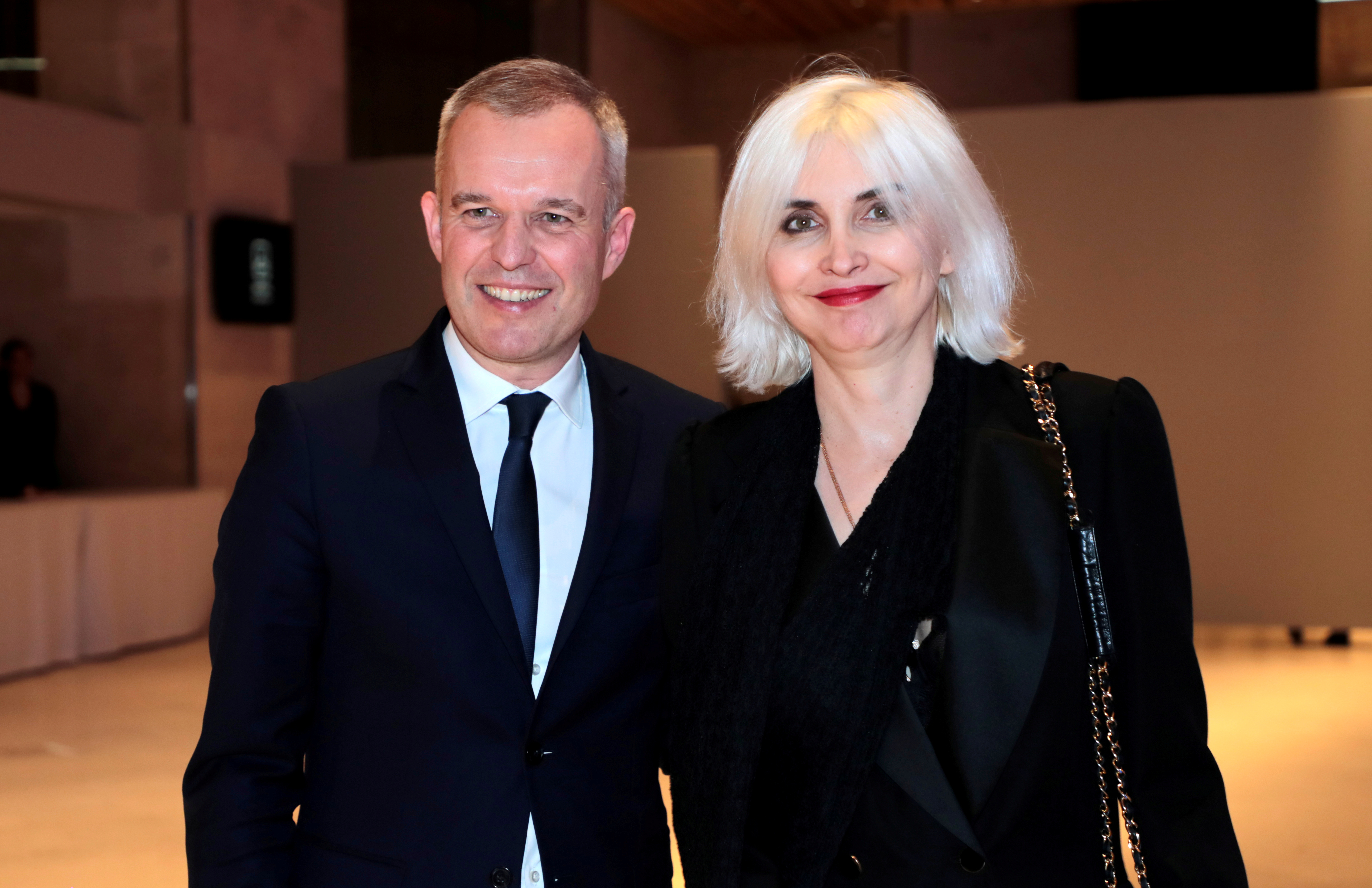 FILE PHOTO: French Ecology Minister Francois de Rugy and his wife, Severine Servat arrive for the 34th annual dinner of the Representative Council of Jewish Institutions of France (CRIF - Conseil Representatif des Institutions juives de France) on February 20, 2019, at the Louvre Carrousel in Paris. Ludovic Marin/Pool via REUTERS