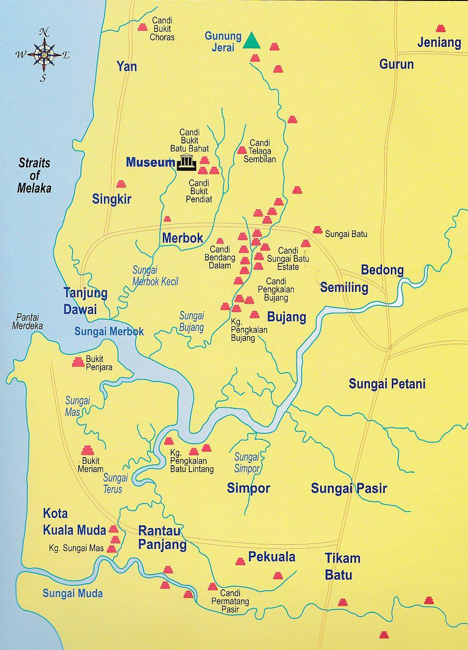 A map of archaeological sites near Lembah Bujang.