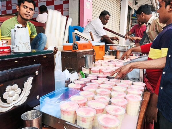 The Old City is a historic but poorer sector of the IT hub, in the Indian summer heat, the yogurt drink is a cheap treat.