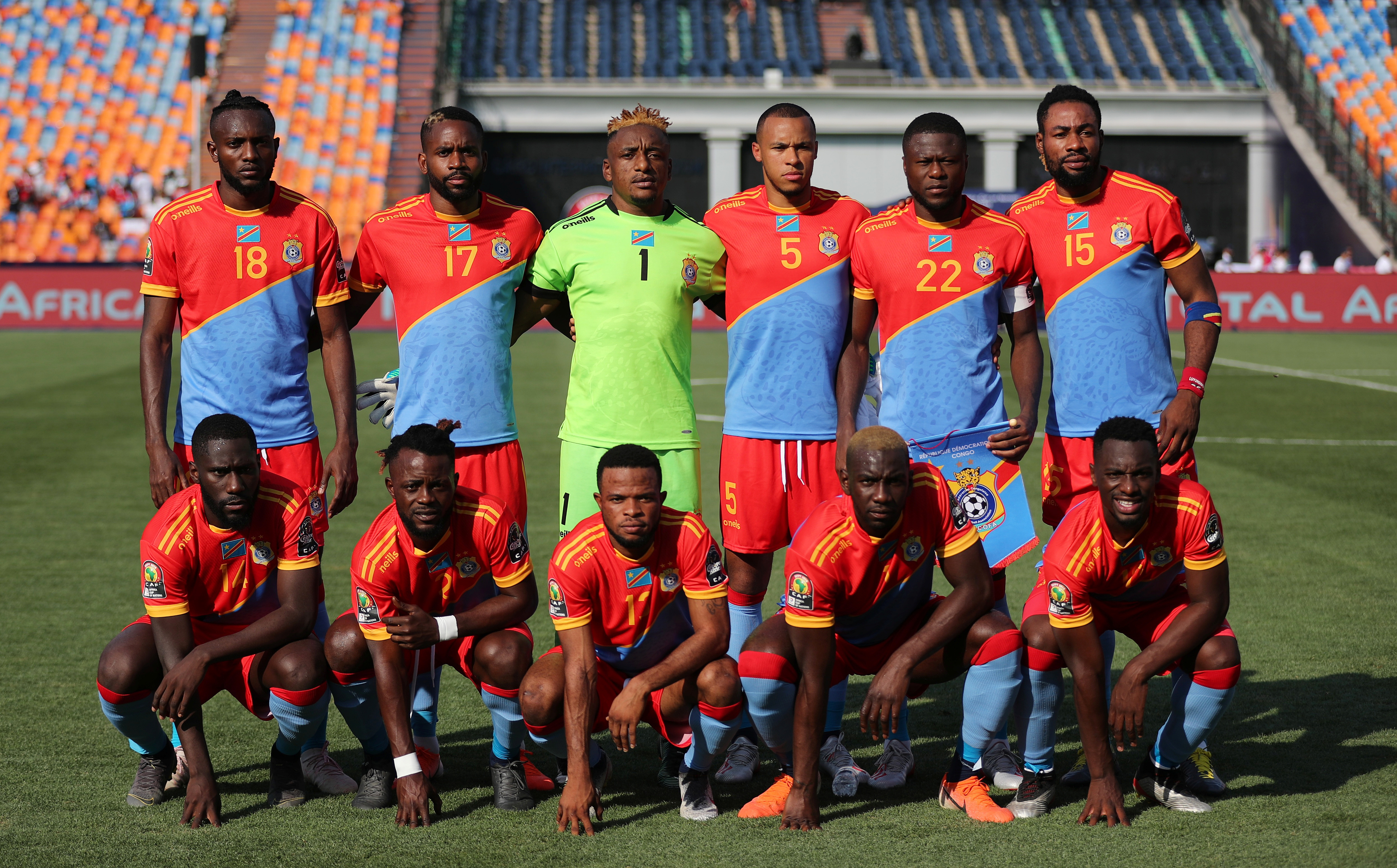 Soccer Football - Africa Cup of Nations 2019 - Group A - DR Congo v Uganda - Cairo International Stadium, Cairo, Egypt - June 22, 2019  DR Congo players pose for a team group photo before the match   REUTERS/Suhaib Salem