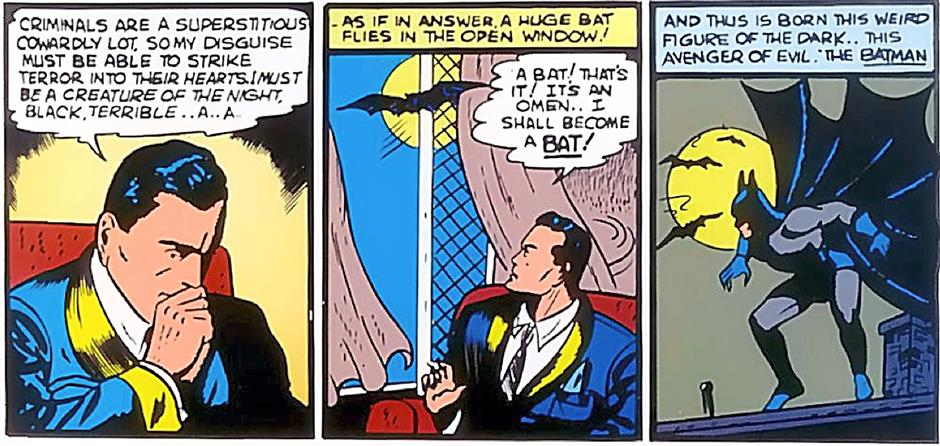 Bruce Wayne gets his inspiration for Batman. It's a good thing it wasn't a squirrel that came in through the window...