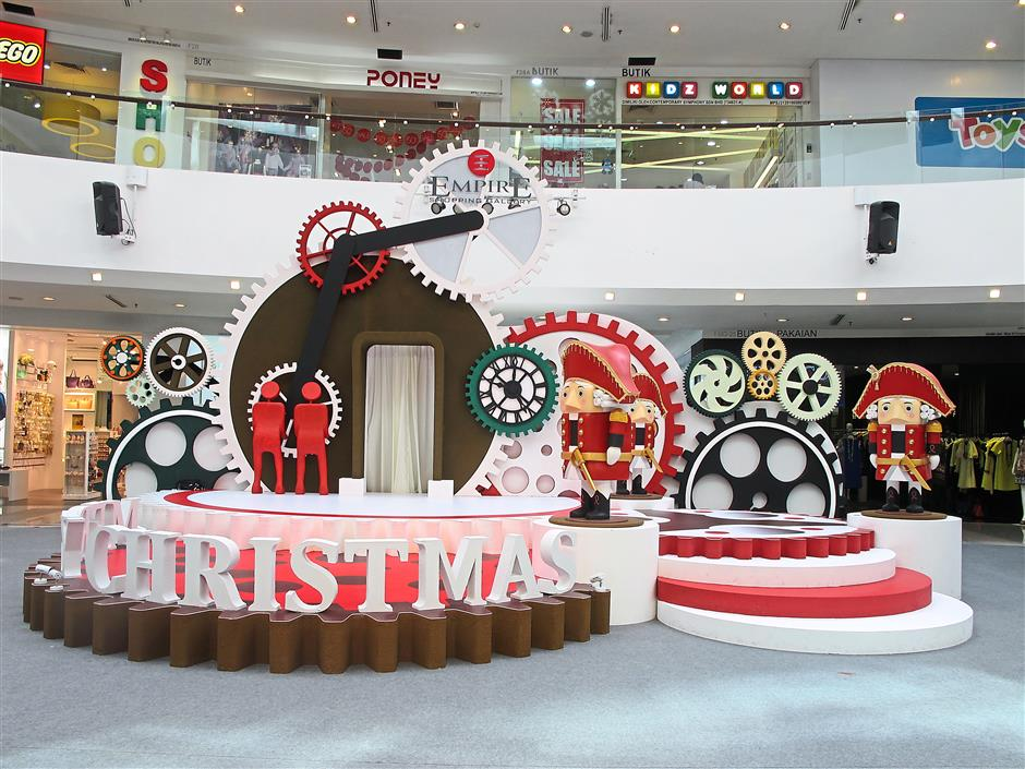 The Empire Shopping Gallery is filled with Christmas decorations that highlight their 'A Mechanical Christmas' theme.