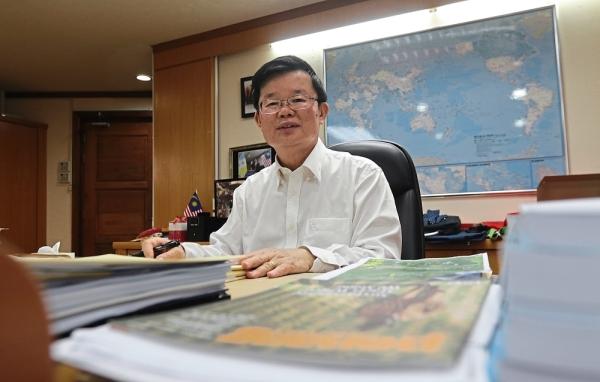 Addressing concerns: Chow at his office in Komtar before the interview in Penang.