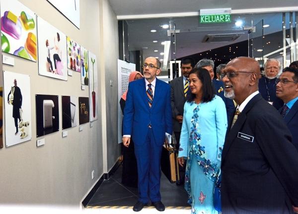 (From left) Maggipinto, Dr Hasnita and Sivarasa admiring the displays at Stefano Giovannoni Design Gallery at UniKL MIDI.