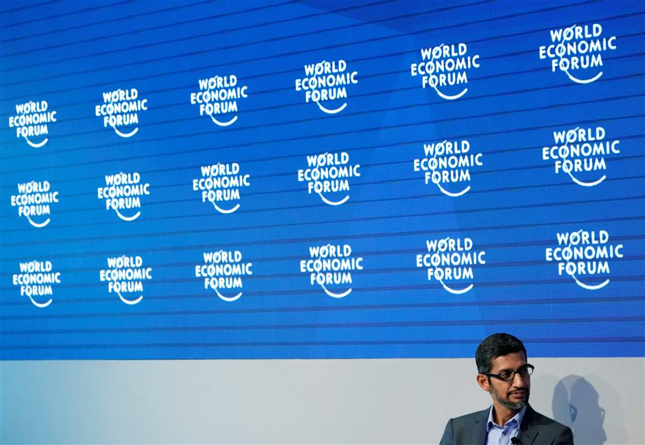 Sundar Pichai, Chief Executive Officer of Google, attends the World Economic Forum (WEF) annual meeting in Davos, Switzerland January 24, 2018.  REUTERS/Denis Balibouse