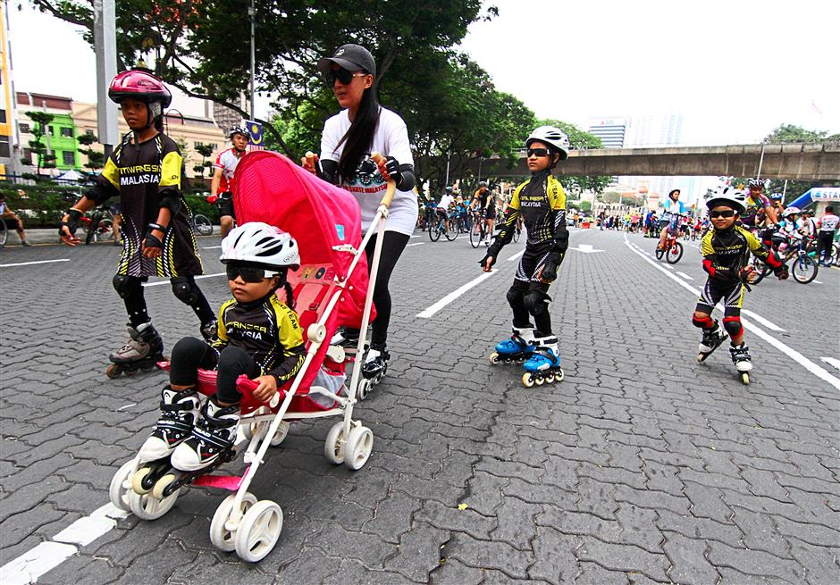 Prams and skaters were seen at KL Car Free Morning on Aug 3.