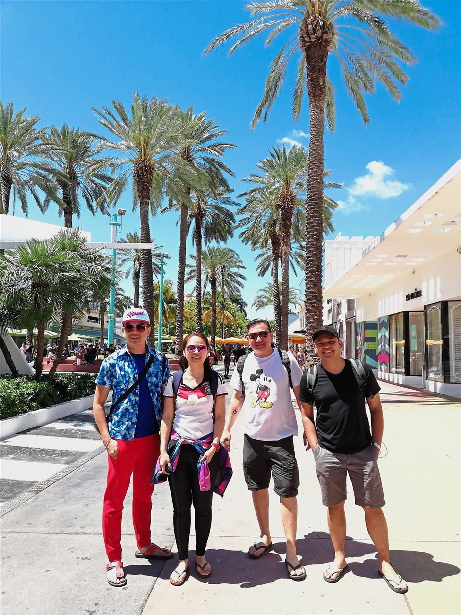 (From left) Zen Ngiam, Christine Ngiam, Colin Yap and Victor Tan visited Lincoln Road, an area famous for shopping, dining and entertainment that's also just blocks away from Miami Beach.