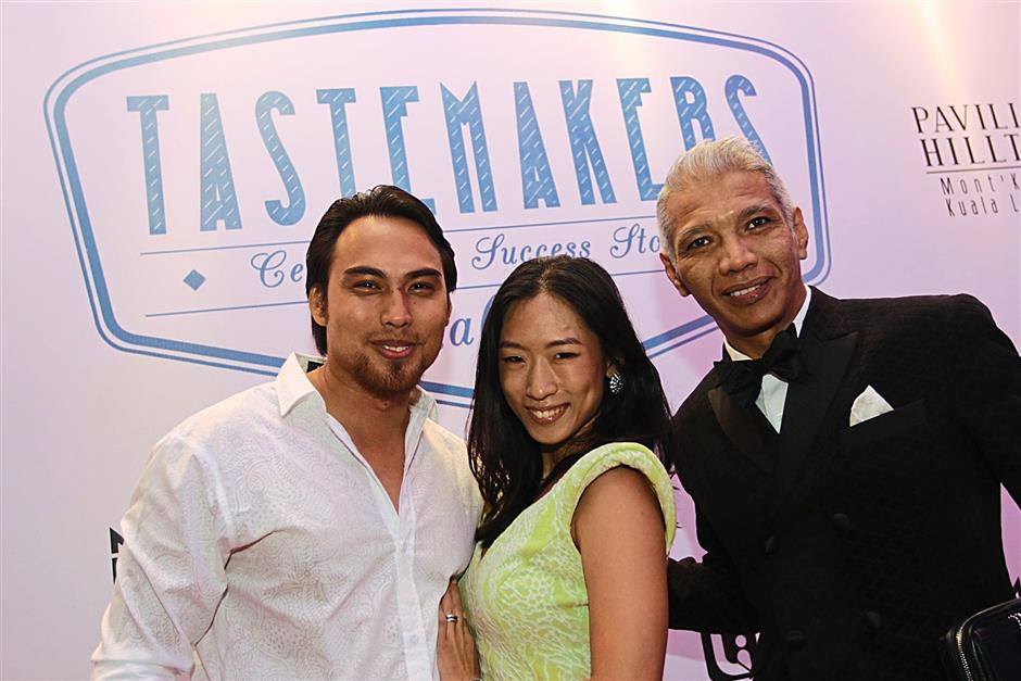 (L-R) Local celebrity Jehan Miskin with his wife, Julie Camelia Rhee and designer Bon Zainal were present at the Tastemaker event at the Pavilion Hilltop Property Gallery in Monâ¿TMt Kiara, Kuala Lumpur recently