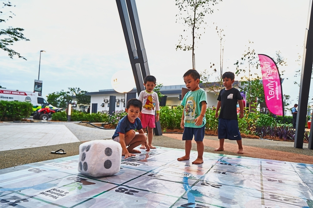 Child's play: A giant game set at The Buzz.ar to get kids outdoors.