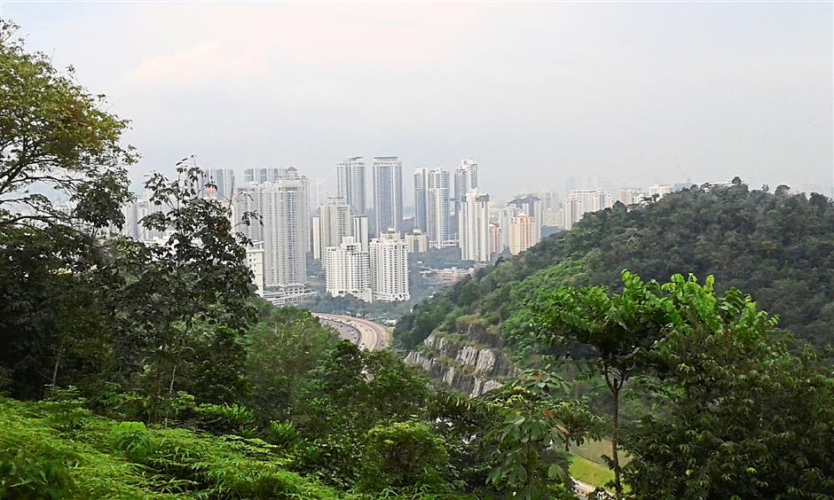 High point: The Mont'Kiara skyline seen from the Sri Bintang trail.