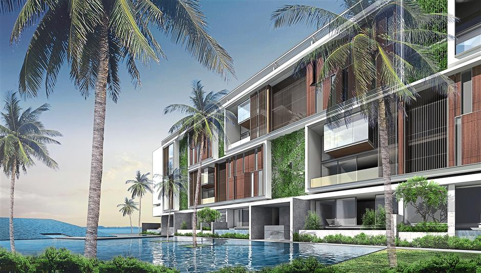 Sea views: A rendering of the Shorefront by YTL Land. The development features extensive landscaping, water features and sea views.