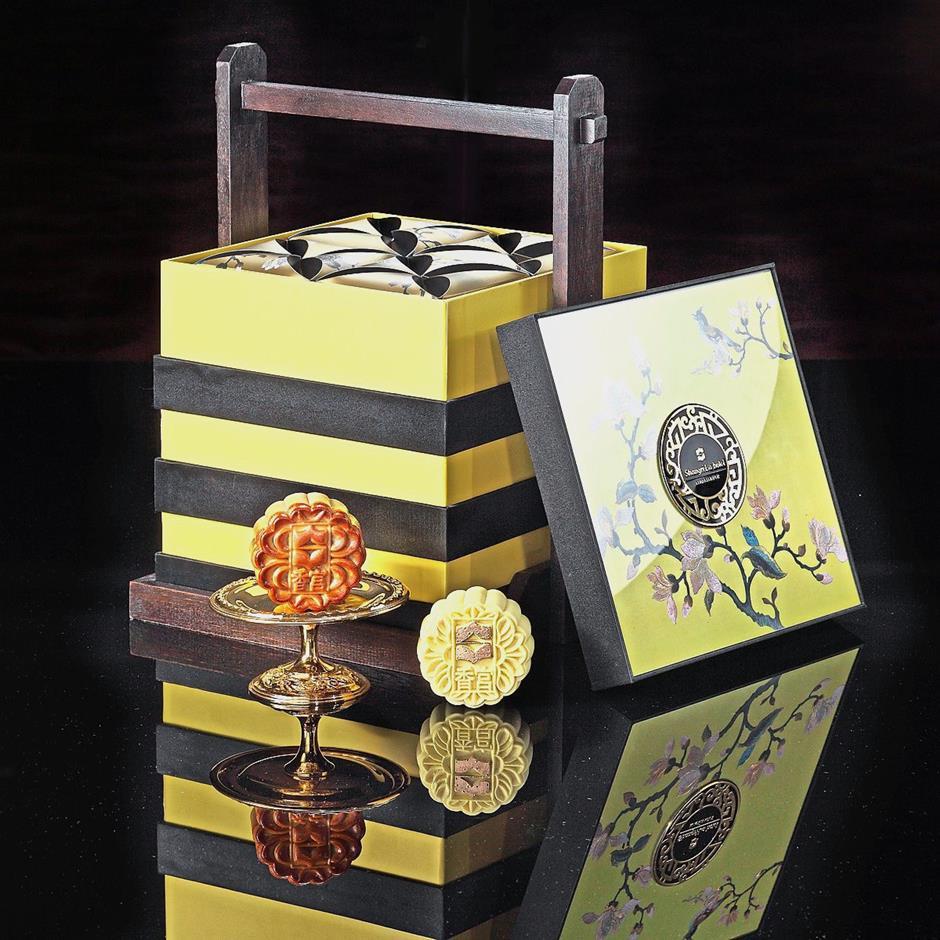 Shangri-La Hotels premium three-tiered mooncake box.