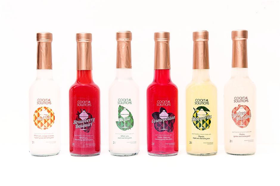 Bottled goodness: Cocktail Solutions offers six classic bottled cocktails – Strawberry Daiquiri, Lychee Martini, Mojito, Mai Tai, Cosmo and Margarita.