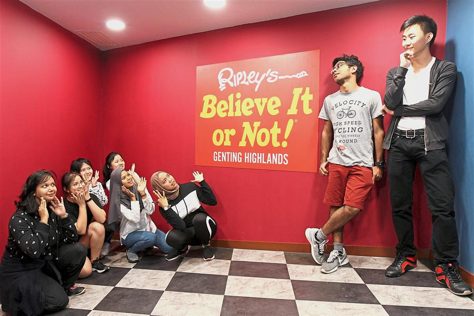 The boys and girls transform into giant and mini versions of themselves at the Ripley's Believe It or Not Odditorium.